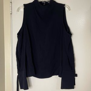 TOPSHOP navy cut out belted sleeve blouse top